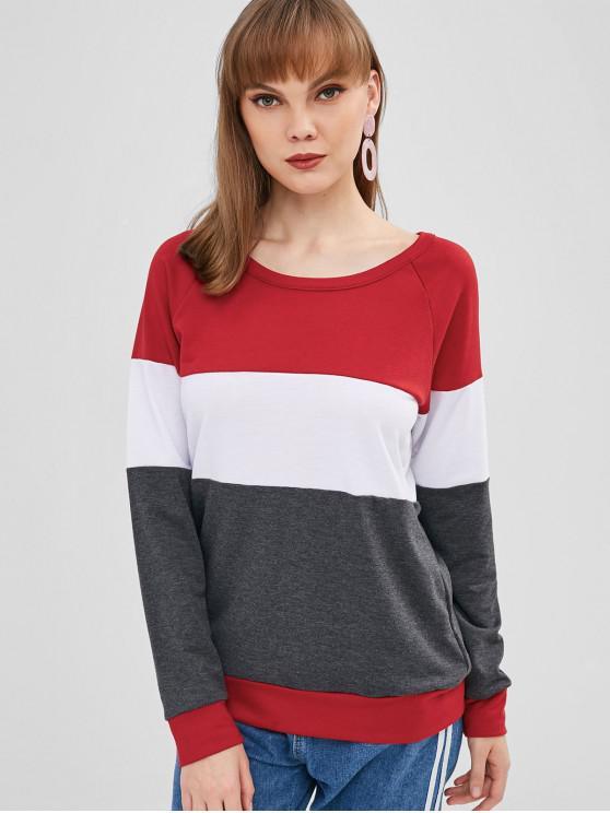 Raglanärmel-T-Shirt mit drei Tönen - Multi S