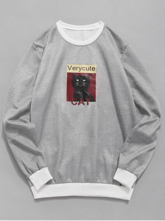 lady Cat Graphic Fleece Sweatshirt - GRAY XS