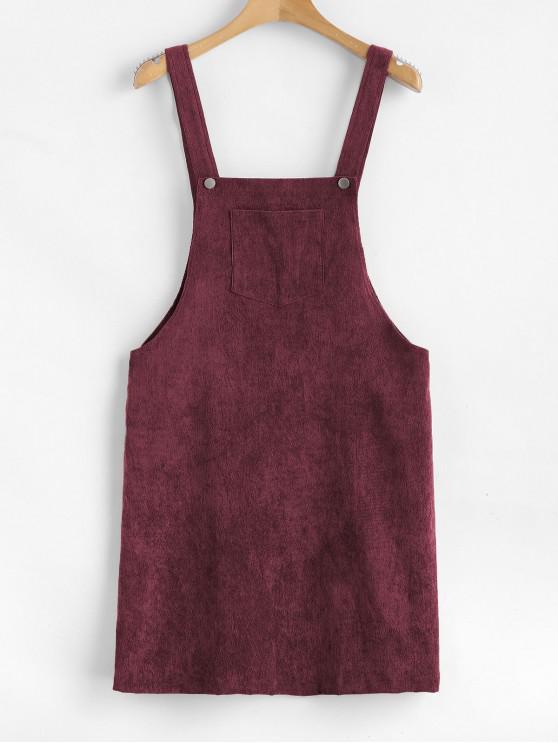 women ZAFUL Front Pocket Corduroy Pinafore Dress - MAROON L