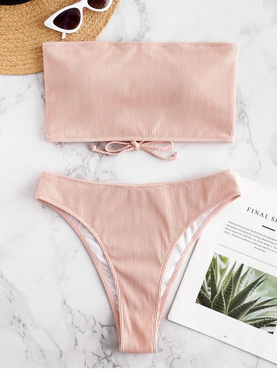 buy ZAFUL Textured Ribbed Lace-up Bikini Set - PIG PINK L