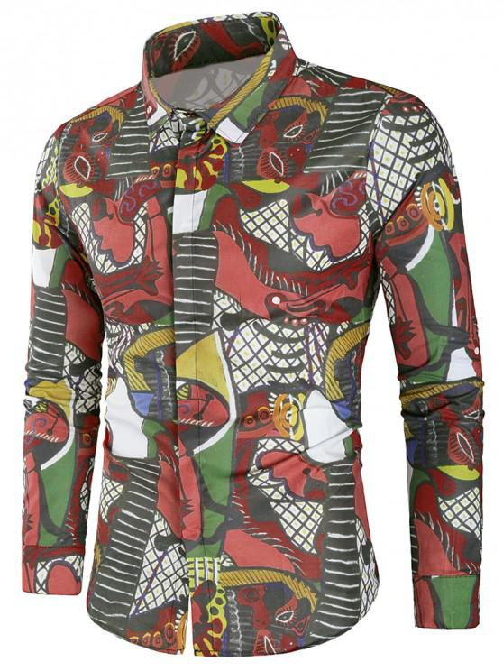 trendy Long Sleeves Cover Button Graphic Shirt - MULTI 2XL