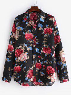 Flowers Printed Casual Shirt - Black L