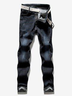 Zipper Straight Leg Ripped Cuffed Jeans - Denim Dark Blue 36