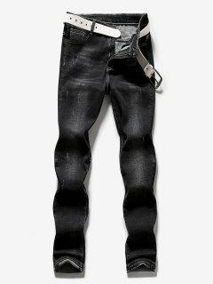 Zipper Fly Frayed Hem Design Jeans - Black 38