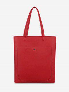 Casual Large Capacity PU Handbag - Red