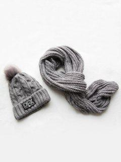 Winter Fuzzy Woven Beanie Scarf Set - Gray