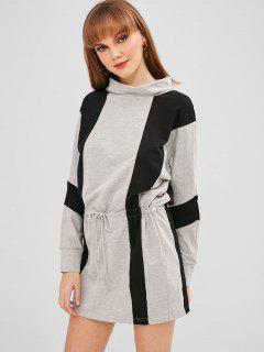 Vestido Corto De Dos Tonos Con Cordón Ajustable - Gris Xl