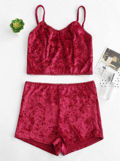 Ensemble De Pyjama à Bretelle En Velours - Rouge Vineux L