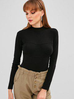 Mock Neck Long Sleeve Bodysuit - Black M