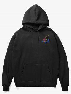Man Cloud Print Fleece Hoodie - Black M
