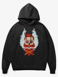 Beard Man Head Print Fleece Hoodie - Black M