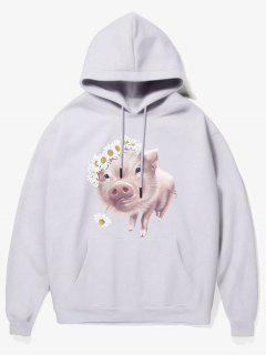 Flower Pig Print Fleece Hoodie - White M