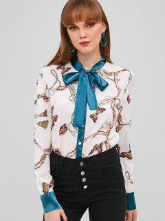 Bow Neck Butterfly Print Shirt - White S