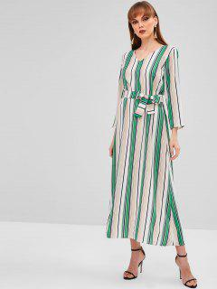 Casual Striped Belted Maxi Dress - Green M