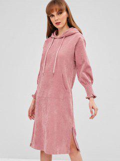 Slit Corduroy Straight Dress - Pink L