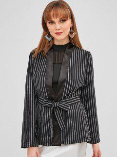 Striped Slit Wrap Blazer - Black M