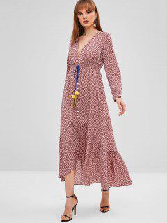 Robe Longue Imprimée à Décolleté Plongeant - Lilas S