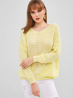 Faux Pearls V Neck Sweater - Corn Yellow