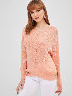 Suéter Con Cuello En V De Perlas De Imitación - Rosa Naranja