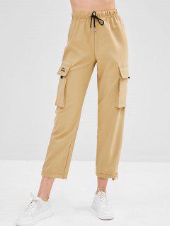 Embroidered Flap Pockets Straight Pants - Khaki S