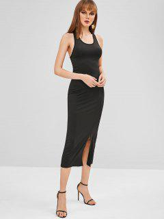 Slit Open Back Midi Dress - Black Xl