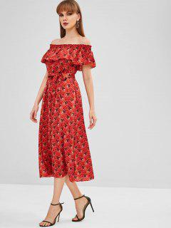 Overlay Printed Off Shoulder Dress - Cherry Red M