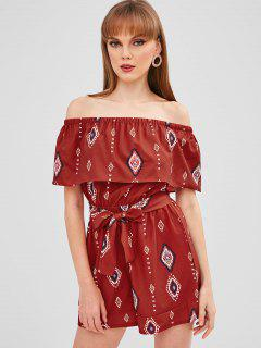 Geometric Overlay Off Shoulder Romper - Chestnut Red L