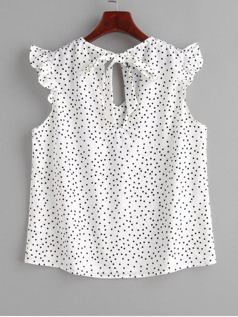 buy Ruffle Polka Dot Cap Sleeve Blouse - WHITE L Mobile