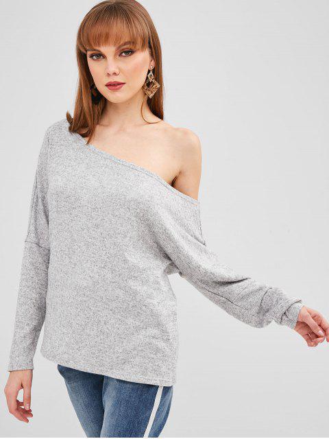 ZAFULスキューネックルーズヘザーセーター - ライトグレー XL Mobile