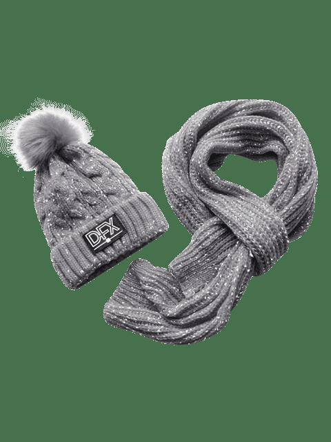 unique Winter Fuzzy Woven Beanie Scarf Set - GRAY  Mobile