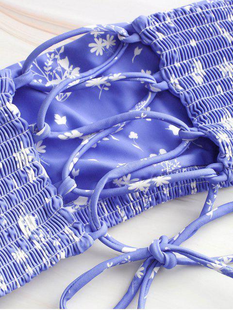 ZAFUL Ensemble de Bikini Plissé Fleuri Imprimé à Lacets - Bleu Ardoise Léger M Mobile