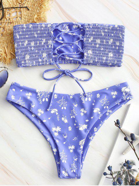 buy ZAFUL Floral Print Lace-up Smocked Bikini Set - LIGHT SLATE BLUE M Mobile