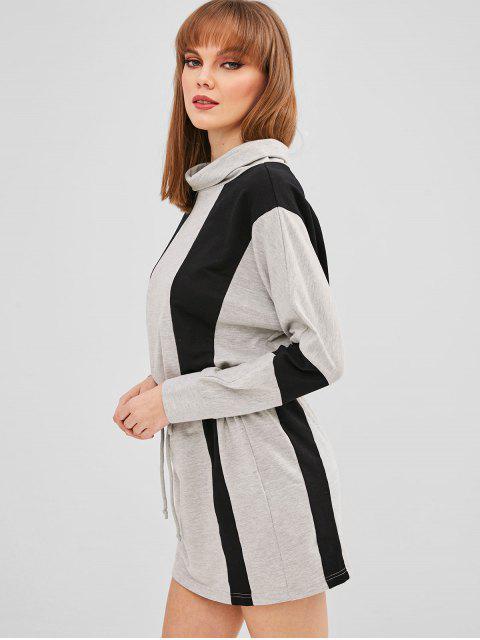 ZAFUL Robe Courte Bicolore à Cordon - Gris XL Mobile