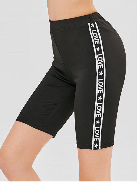 sale ZAFUL High Waist Letter Patched Short Leggings - BLACK L Mobile