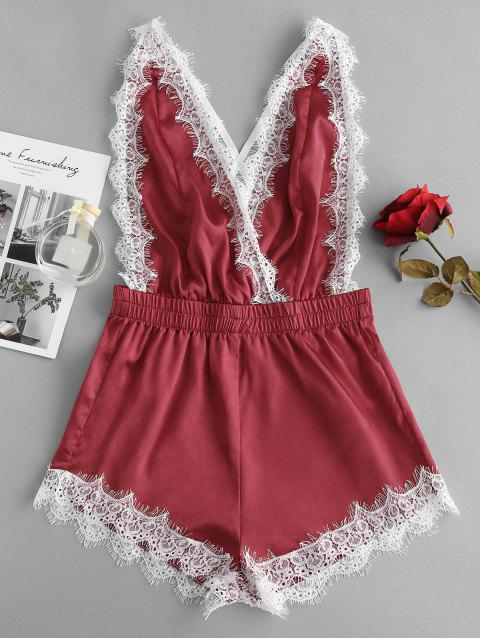lady Lace Insert Backless Satin Lingerie Romper - RED WINE S Mobile