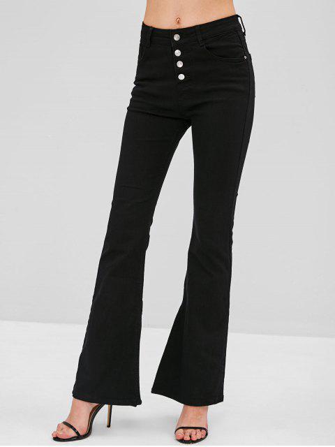 fancy Button Fly Slit Boot Cut Jeans - BLACK M Mobile