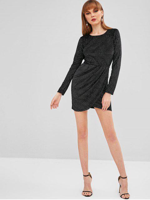 ladies Glitter Open Back Tulip Dress - BLACK S Mobile