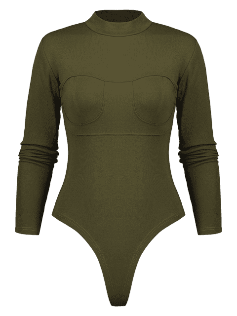 ladies Mock Neck Long Sleeve Bodysuit - ARMY GREEN S Mobile