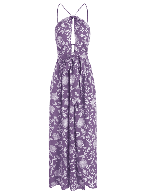 fancy Cami Backless Belted Dress - PURPLE S Mobile