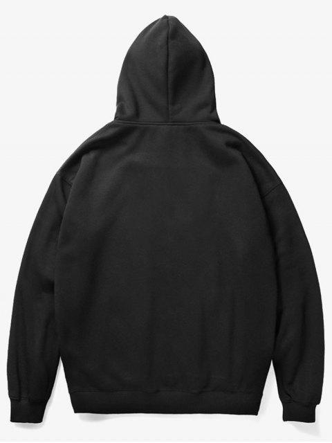 womens Flower Pig Print Fleece Hoodie - BLACK XS Mobile