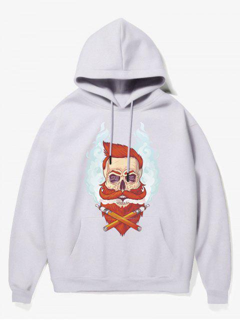 chic Beard Man Head Print Fleece Hoodie - WHITE M Mobile