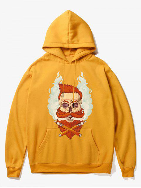affordable Beard Man Head Print Fleece Hoodie - YELLOW S Mobile