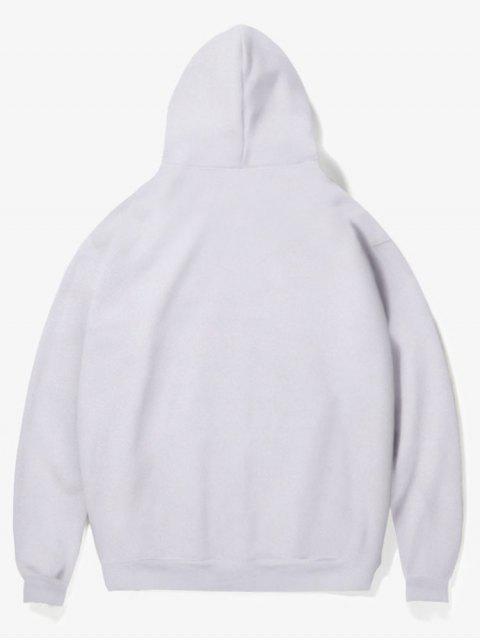 unique Flower Pig Print Fleece Hoodie - WHITE M Mobile