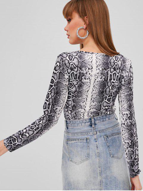 chic V Neck Snakeskin T-shirt - MULTI-A S Mobile