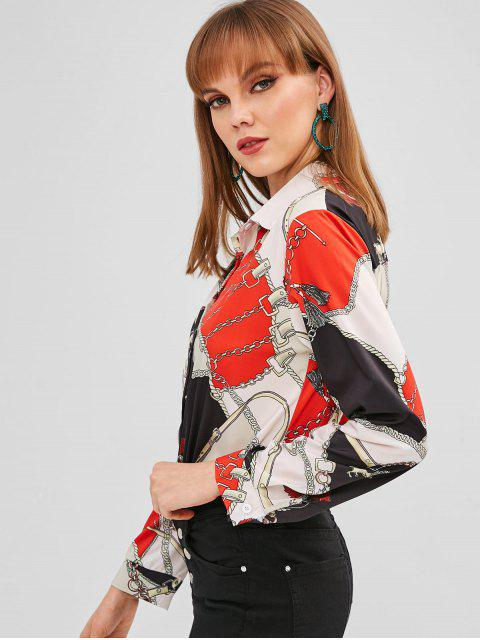 outfits Chain Print High Low Shirt - RED S Mobile
