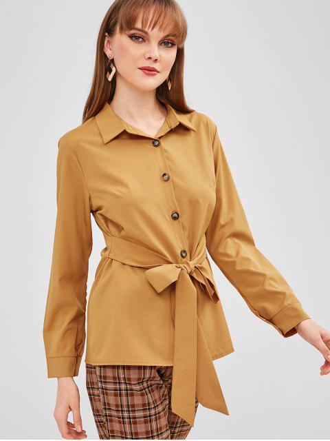 Chemise Boutonnée avec Ceinture - Jaune d'Abeille L Mobile
