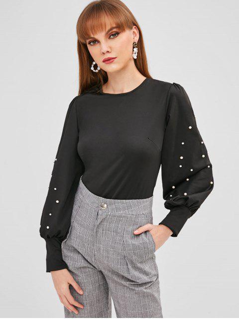 T-shirt Manches Lanternes avec Fausse Perle - Noir M Mobile