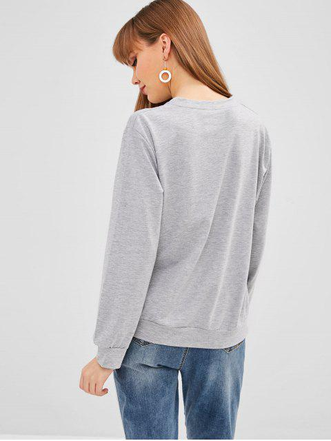 Sweat imprimé fille - Gris L Mobile