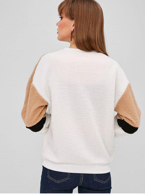 Sweat-shirt Lâche en Blocs de Couleurs à Goutte Epaule - Marron Camel M Mobile