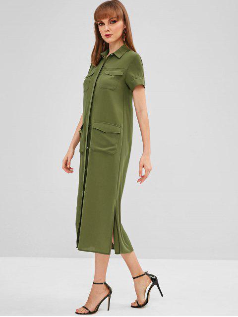 Vestido de camisa con abertura lateral en los bolsillos delanteros - Verde M Mobile
